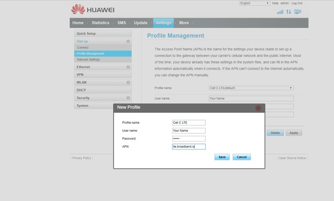 Cell C LTE Manual APN Configuration