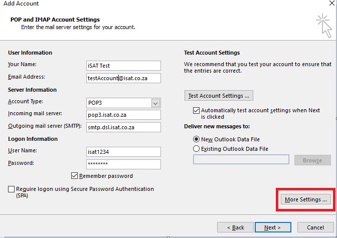 Mailbox Setup (Outlook 2016) via Control Panel