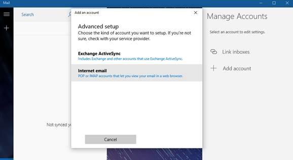 Mailbox Setup (Windows 10 Mail)